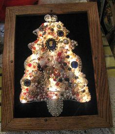 Vintage Jewelry Christmas Tree Oak Framed FREE SHIPPING. $110.00, via Etsy.