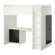 IKEA - STUVA, Loft bed combo w 3 drawers/2 doors, white/black, , With this loft bed you get a complete solution for your child's room – including desk, wardrobe and open shelf unit.You can assemble the desk parallel or perpendicular to the bed according to your needs.If you choose to assemble the desk perpendicular to the bed, you can access the wardrobe from both sides.To reduce the risk of slipping the ladder has anti-slip groves.It´s easy to keep sockets and cables out of sight but close…