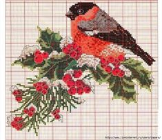Christmas holly with finch cross stitch.