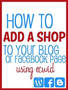 Add a Shopping Cart to your Blog or Facebook page