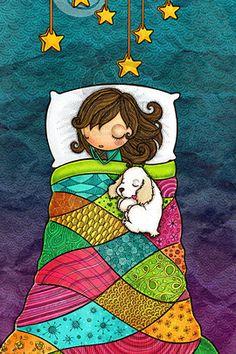 Good Night and Sweet Dreams! Birthday Greetings, Birthday Wishes, Happy Birthday, Art And Illustration, Good Morning Good Night, Happy B Day, Whimsical Art, Sweet Dreams, Cute Art