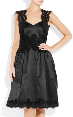 Moschino Lacetrimmed Satin Dress in Black - Lyst