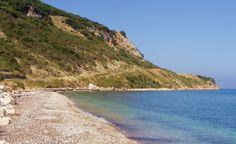 Pebbly beach #east coast between #skala and #poros some really fab stones here, huge marble chunks very pretty #kefalonia
