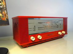 Rare Vintage Radio, Orange Retro Philips Radio 3 Band Plano 'Musette', Bands LW, MW, SW, Working Radio, Model B3X40U, Made in Holland, 1964