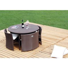Brown Modern Outdoor Patio Dining Set - Dining Tables - Dining Room