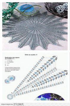 Perfect Crochet Sousplat Models – Knitting And We Col Crochet, Crochet Doily Diagram, Crochet Circles, Crochet Doily Patterns, Crochet Mandala, Crochet Art, Crochet Home, Thread Crochet, Irish Crochet