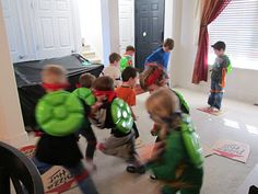 "TMNT Birthday party! Great party ideas!! Love that they used vegetable trays from the dollar store for their ""shells!"""
