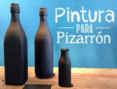 Botellas de vidrio con Pintura para Pizarrón / Botellas color negro