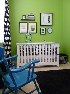 Black and white accents in green #nursery
