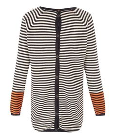 Chinti and Parker Navy Stripe Button Back Cashmere Jumper