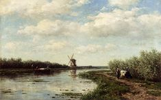 Roelofs Willem Figures On A Country Road Along A Waterway A Windmill In The Distance.