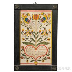 Watercolor Fraktur | Sale Number 2838M, Lot Number 1057 | Skinner AuctioneersSOld for $27,060.