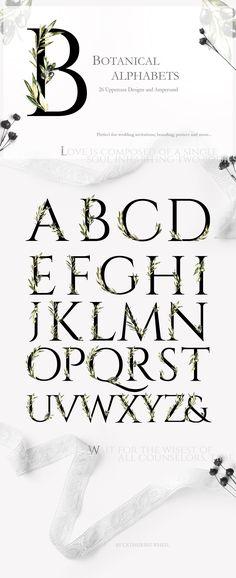 Grace&Glory Botanical Alphabet Olive by Catherine Wheel on @creativemarket