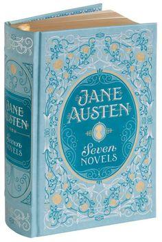 Barnes and Noble Collectible Edition Jane Austen Seven Novels Book Cover Art, Book Cover Design, Book Design, Jane Austen Books, Beautiful Book Covers, Blue Books, Book Aesthetic, Pride And Prejudice, Classic Books