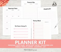 A5 Planner Insert Black & Coral Daily Planner by cardsbybubi