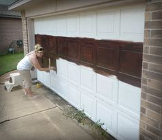 Who wants to help me paint my garage door? :) Made To Love: .- Who wants to help me paint my garage door? 🙂 Made To Love: diy Faux Wooden Gara… Who wants to help me paint my garage door? :] Made To Love: diy Faux Wooden Garage Door: - Metal Garage Doors, Garage Door Paint, Garage Door Colors, Carriage Garage Doors, Garage Door Makeover, Garage Door Design, Faux Wood Garage Door Diy, Exterior Makeover, Carriage House