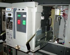 Verify that the circuit breaker fits inside of its cell and is properly aligned. Electrical Switches, Electrical Safety, Electrical Engineering, Electrical Equipment, Electrical Substation, Circuits, Verify, Copper