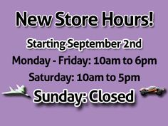 Starting September both of our locations, Las Vegas and Henderson, will be closed on Sundays! If you have any questions please call: Las Vegas: Henderson: Rc Cars And Trucks, Camera Accessories, Las Vegas, September, Sunday, Aircraft, Domingo, Aviation, Last Vegas