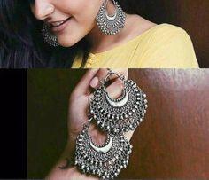 Oxidised German Silver Afghani Chandbali Earrings with Silver Beads Indian Jewelry Earrings, Indian Jewelry Sets, Fancy Jewellery, Jewelry Design Earrings, Silver Jewellery Indian, Gold Earrings Designs, Tribal Earrings, Stylish Jewelry, Women's Earrings