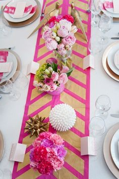 a bold hand-painted table runner  Photography by http://blogbyrachel.com, Concept by http://modernjanedesign.blogspot.com, Coordination by http://kiss-the-bride.net, Floral Design by http://heartsandflowers.ca