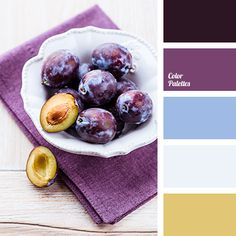"Rich colour of plums and plums flesh should be used in a kitchen interior design. Such a contrasting colours ""refresh"" space.."