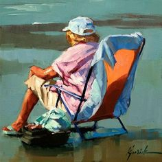 """Daily Paintworks - """"Keeper of the Lures"""" - Original Fine Art for Sale - © Karin Jurick Painting People, Figure Painting, Marilyn Monroe Painting, Summer Painting, Seascape Paintings, Beach Paintings, Human Art, Traditional Paintings, Beach Scenes"""