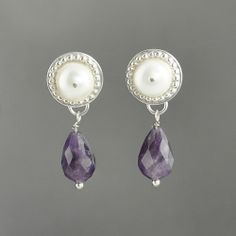 Venus Drop Earrings: Pearls & Amethyst - $80.00 + shipping #earrings #jewelry #silver #pearl #stud #amethyst #drop #purple #roman #sca #reenactment #historical #fashion