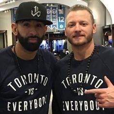 My boys Bautista & Donaldson. Love their fans. Baseball Girls, Sports Baseball, Baseball Players, Sports Art, Blue Jay Way, Go Blue, Josh Donaldson, Sports Figures, Toronto Blue Jays