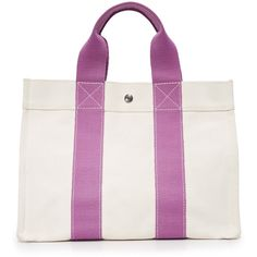 What Goes Around Comes Around Hermes Bora Bora Tote Previously Owned ($770) ❤ liked on Polyvore featuring bags, handbags, tote bags, tote purses, white handbags, white tote handbags, tote bag purse and handbags totes