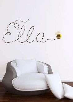 Buzzing around Name with Bee wall decal