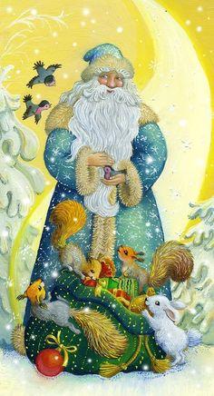 "Photo from album ""Новогодние открытки"" on Yandex. Vintage Christmas Images, Victorian Christmas, Christmas Pictures, Christmas Scenes, Christmas Art, All Things Christmas, Xmas, Vintage Santa Claus, Vintage Santas"