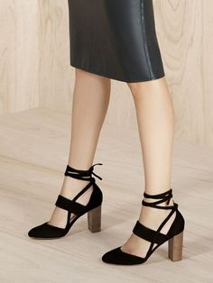 2072e6516 Suede block heel pumps with chic ankle ties
