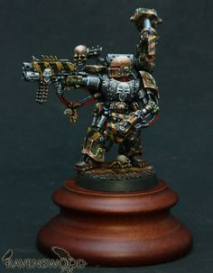 """Iron Warriors Chaos Space Marine Warsmith painted by Sergey """"Ravenswood"""" Gybin Warhammer Models, Warhammer 40000, Space Marine, Chaos Legion, The Horus Heresy, Imperial Fist, Warhammer 40k Miniatures, Fortification, Military Art"""