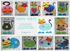 NNC 12 Cat Applique Quilt Blocks for the by NonnieNooCreations