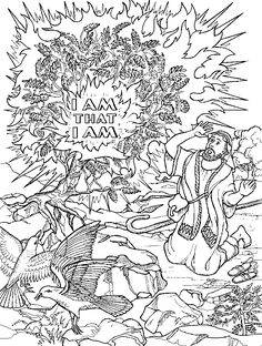 Bible coloring pages on pinterest bible coloring pages for Moses and burning bush coloring page