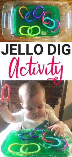 Jello Dig Activity For Babies & Toddlers (Jello Sensory Play)You can find Baby play and more on our website.Jello Dig Activity For Babies & Toddlers (Jello Sensory Play) Toddler Learning Activities, Infant Activities, Baby Activites, Craft Activities For Toddlers, Outside Activities For Kids, Busy Boards For Toddlers, Preschool Toys, Water Activities, Indoor Activities