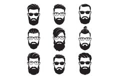 Vector bearded men faces Graphics Set of vector bearded men faces, hipsters with different haircuts, mustaches, beards. Hipster silhou by rikkyal Mens Hairstyles With Beard, Hair And Beard Styles, Best Short Haircuts, Haircuts For Men, Beard Silhouette, Long Beards, Beard No Mustache, Male Face, Bearded Men