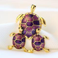 Mode Tortue Famille animal Broches pins or Coloré Strass Broche vintage broche pour les femmes cadeau bijoux