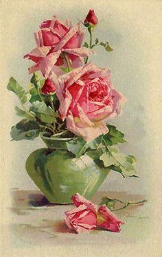 Pink roses in green vase, Catherine Klein Art Floral, Floral Prints, Vintage Rosen, Vintage Art, Watercolor Flowers, Watercolor Art, Vase Vert, Catherine Klein, Illustration Blume