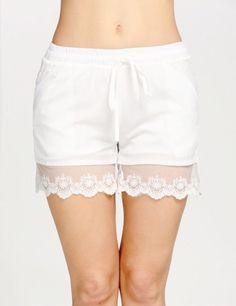 Product Description: Woman's Casual Lace Hem Shorts with Elastic Waist and Pocket. Material: Polyester, Color: White, Design: Drawstring Elastic Waist, Season: Summer, Autumn, Waistline: Mid Waist, Le #sexy #passion #followback