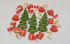 35pcs Christmas Tree Gift box Bell Bow Winter Edible gumpaste fondant sugar cane mini candy favours Cupcakes Cookies set by JECreativelySweet on Etsy