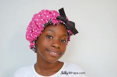 COLOR:  Pink Polka Dot (Lined with black/white polka dot satin charmeuse)    Hair bonnet for princesses of all ages!    NOW AVAILABLE in this XL size for girls with even bigger curls!    This EXCLUSIVE designed bonnet has a beautiful cotton/polyester exterior and is lined with our highest quality...