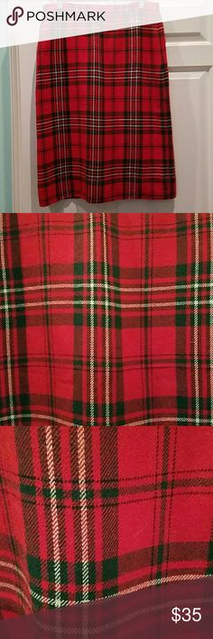 """VINTAGE WOOL CHRISTMAS PLAID CLASSIC SKIRT Great vintage wool skirt, fully lined and in great condition.  Ready to pair with a band shirt or wear for your holiday party. The waist is 33"""", hips are 41"""", length is 28"""". Vintage  Skirts"""