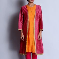 Pink & Orange Chanderi Hand Block Printed Kurta With Front Open Jacket & Gota Details Witch Fashion, Kurta Designs Women, Duster Coat, Indian, Suits, Orange, Printed, Outfit, Casual
