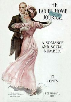 Ladies' Home Journal, February 1, 1911. A Romance and Social Number. Harrison Fisher (American, 1875-1934). Man in tails and woman in pink dress dancing. The 'Fisher Girl' and, more importantly, Fisher's 'American Girl' were recognized as the epitome of feminine beauty in America during the first quarter of the 20th century. She was lithe, elegant and beautiful, but also athletic, independent, and intelligent.