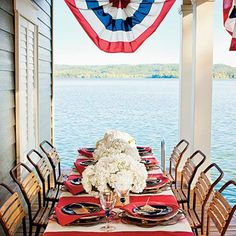 Patriotic Lakeside Table Setting - Pretty Southern Table Setting Ideas - Southern Living