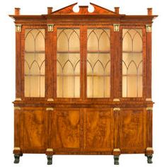 Breakfront Bookcase ;Library Bookcase with Wings - 19th century
