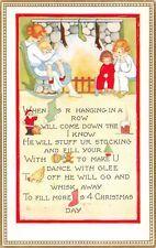 Vintage Chrismas pictogram family by fireside Santa Stockings - Unused POSTCARD