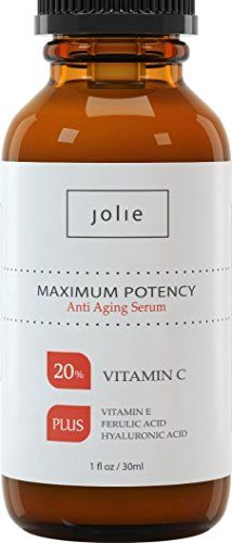 JOLIE | THE #1 BEST Vitamin C Serum for Face | Contains 20% Vitamin C, Vitamin E, CoQ10, Ferulic and 11% Hyaluronic Acid | BEST NATURAL AND ORGANIC Anti-Aging Serum STIMULATING Collagen REDUCING fine lines and wrinkles | MAX POTENCY | Proprietary Formulation of acids to NEUTRALIZE free radicals and make your skin look and feel YOUNGER | 100% SATISFACTION GUARANTEED! | 1oz. bottle Jolie http://www.amazon.com/dp/B00JDTFBXA/ref=cm_sw_r_pi_dp_BEVNtb0NZR2YCBRF