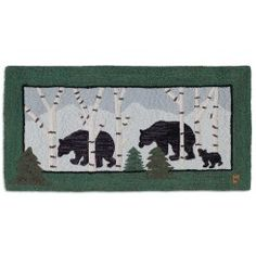 Three Bears in Birch Woods 2 ' x 4' Hand-Hooked Wool Rug